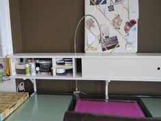 "IKEA Hackers| I love how she use the backboard as a sliding ""door"" for the shelf!"