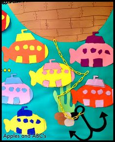 cut and paste shapes paper submarine