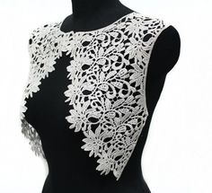 Week 2 pcs White Necklace Lace Crochet Collar Yoke Applique