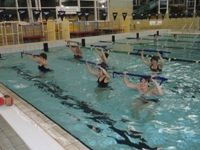 Come to aqua boot camp for a fun filled, intense water workout at Hobart Aquatic Centre.  Aqua boot camp will get you fit fast, tone up, strengthening the whole body in a low impact shallow water exercise class