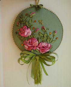 Wonderful Ribbon Embroidery Flowers by Hand Ideas. Enchanting Ribbon Embroidery Flowers by Hand Ideas. Ribbon Embroidery Tutorial, Silk Ribbon Embroidery, Hand Embroidery Patterns, Cross Stitch Embroidery, Embroidery Designs, Ribbon Art, Ribbon Crafts, Ribbon Flower, Craft Patterns