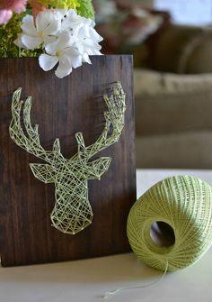 Unique Wall Art Stuffs as Wall Complement Concept : Elk Head String Art DIY