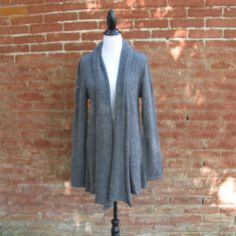 Veste longue ardoise en laine baby alpaga