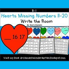 Hearts Write the Room (Missing Numbers 11-20) February - winter - Valentine's Day - Math Centers --- This resource in now available in a Missing Numbers 11-20 Write the Room BUNDLE