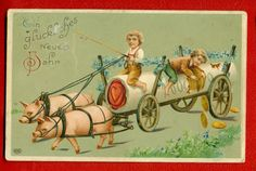 Russia Germany Christmas Children Pigs and Money Vintage Embossed PC Used 677 | eBay