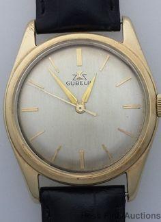 Genuine Vintage Gubelin 17J Screwback Sweep Seconds Mens Wrist Watch #Gubelin
