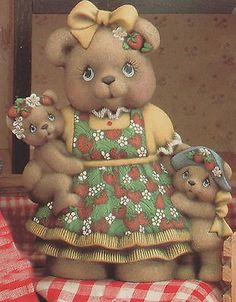 Ceramic Bisque Mama Strawberry Teddy Bear Girl U-Paint Ready to Paint Unpainted