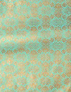 Lokta Far East Gold on Turquoise Fine Paper - for vanity top