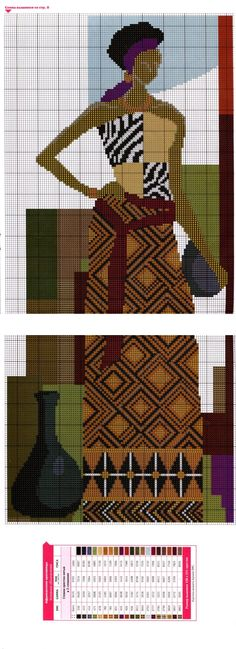 ::ArtManuais- Tecnicas de Artesanato | Moldes para Artesanato | Passo a Passo:: African Life, African Women, African Artwork, Creative Bag, Graph Design, Art Africain, Charts And Graphs, African Textiles, Unique Crochet