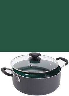 Gibson Home Hummington Ceramic Non-Stick Dutch Oven with Glass Lid, Green Gibson Home, Ceramic Non Stick, Dutch Ovens, Ceramics, Glass, Green, Kitchen, Ceramica, Pottery