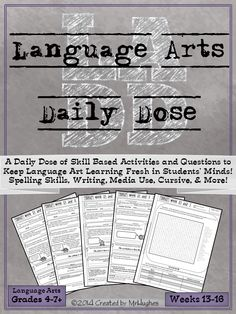 Grades 4-7+, Set 4- If you're looking for an extensive, spiraling, language arts resource to help your students be lifelong learners, than you have come to right place. Language Arts Daily Dose is designed to teach a skill over 5 days with the student asked to do more each day. This gentle scaffold approach makes this resource student and teacher friendly, making it possible for even reluctant workers to feel success. ($)
