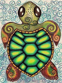 Baby Sea Turtle Art Print by Alohalani I want to draw this myself! Sea Turtle Art, Turtle Love, Sea Turtle Drawings, Sea Turtle Painting, Cute Turtles, Sea Turtles, Baby Turtles, Tortoise Turtle, Cute Drawings