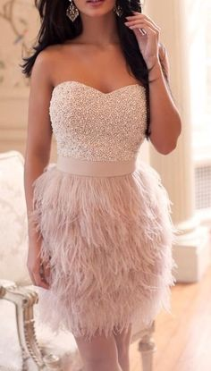 Short Prom Dresses, Gorgeous Feather fur Sweetheart Evening Party Dresses,Mini Bridal Dresses ,Cocktail Dresses