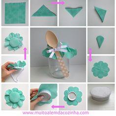 Como decorar tampinha para bolo no pote ou porta-treco.