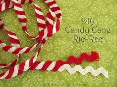 Christmas DIY: Twist red and white Twist red and white lengths together to make candy cane ric rac. Make sure you iron it really well after you twist it together to help it lay flat when you sew it on to your desired fabric. Fabric Crafts, Sewing Crafts, Sewing Projects, Winter Christmas, All Things Christmas, Xmas, Christmas Presents, Christmas Ornament, Christmas Tree