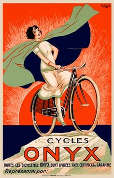 Onyx by Fritayre 1925 France - Beautiful Vintage Poster Reproductions. This vertical French transportation poster features a woman in a blue and green cape on a bicycle on a mountain top with sunset behind her. Giclee Advertising Print. Classic Posters