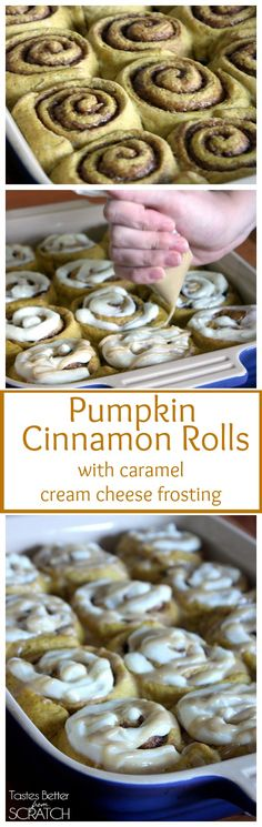 These Pumpkin Cinnamon Rolls with Cream Cheese Frosting are to die for! Perfect for fall! Recipe on http://tastesbetterfromscratch.com