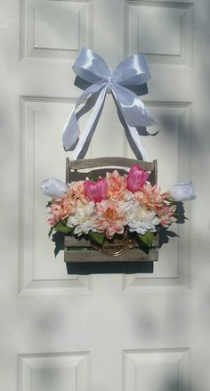 Check out this item in my Etsy shop https://www.etsy.com/listing/288310153/hanging-flower-box-wreath-spring-floral