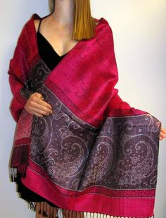 Buy this Hot Pink Shiny Dressy Evening Shawl Wrap a silk pashmina blend on sale and look amazing for any special occasion or event. $32.00 this style of shawls for women comes in many colors for evening dress/gown.