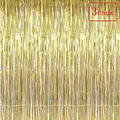 SAKOLLA Gold Metallic Tinsel Foil Fringe Curtains - Photo Booth Props for Birthday Decorations,Bachelorette Party, Weddings,Baby Shower Decorations x FT) - Set of 3 Bachelorette Party Decorations, Birthday Decorations, Baby Shower Decorations, Wedding Photo Booth, Photo Booth Props, Shower Party, Party Party, Bridal Shower, Party Ideas