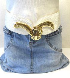 Corset Belt Wide White Leather Snake Buckle by sweetie2sweetie