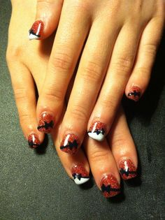 Red glitter nails, bows, prom, red, black, white