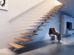 Straight staircase / metal frame / wooden steps / open 200 Interbau