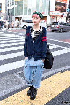 Cute Pink Hairstyle, NY Headband, Denim Overalls & Piercing in Harajuku