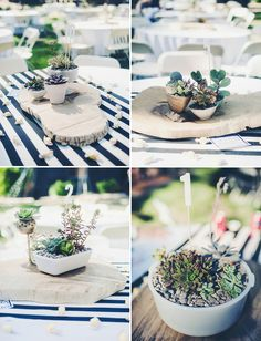 Love this modern mountain wedding - having potted plants instead of fresh cut flowers is so refreshing!