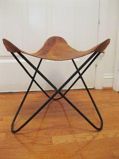 Original Knoll Jorge Ferrari Hardoy Leather And Steel Butterfly  Stool/Ottoman   EBay