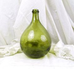 Small Vintage French Green Olive Glass by VintageDecorFrancais, $78.00