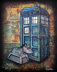 Doctor Who Tardis K9 Comic Artwork ORIGINAL by SourAppleGallery