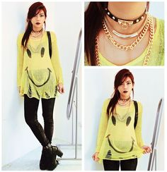 Femmex Lg1307 Cuffs (Wore As Necklace), Necklace, Ghetto Gold Necklace Set, Smiley Face Loose Sweater, Velvet Leggings, Chunky Heel Platform Boots