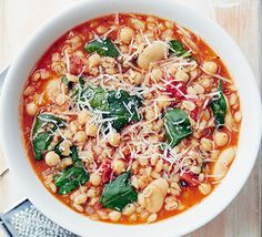 Low-fat, vegetarian and super-healthy, this filling one-pot lunch or dinner is packed with chickpeas, butter beans and pearl barley