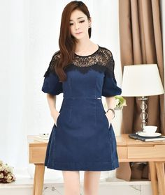 Denim A-line Mini Dress with Lace Shoulders and Neckline YRB0770