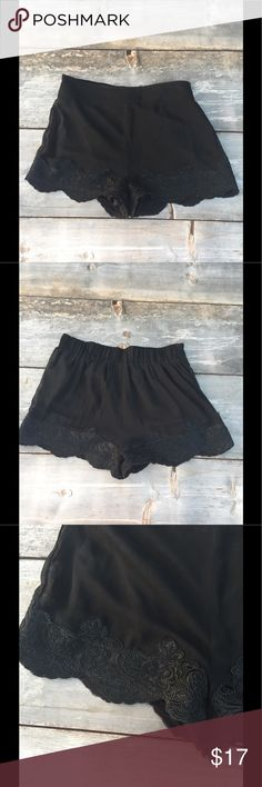 """Urban outfitters black lace short SZ m Urban outfitters black lace short SZ m- Pins and needles-  waist 15"""" elastic waist Good condition! Urban Outfitters Shorts"""