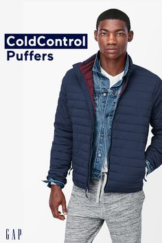A softer, lightweight luxury down alternative with superior warmth -even when wet!  The Gap ColdControl puffer jacket for men warms you up as the temperatures drop.  (1) Fast-Drying (2) Super Softness (3) As warm as 500-fill down (4) Now with 35% recycled insulation fibers