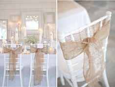 Burlap chair sash - Just add a little baby's breath to finish it off Chic Wedding, Wedding Trends, Dream Wedding, Wedding Ideas, Bow Wedding, Elegant Wedding, Summer Wedding, Wedding Photos, Lace Weddings