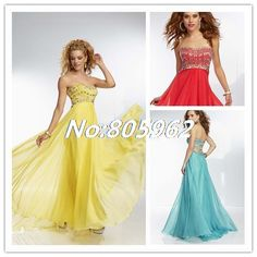 Newest 2014 Sweetheart With Crystal Strapless A Line Long Evening Dresses Chiffon Prom Gowns vestido de festa Floor Length A47 $159.99