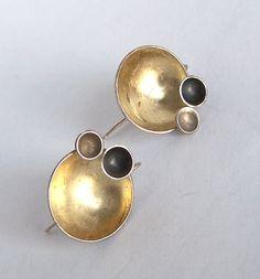 Modernist Silver Earrings,Studio Earrings,Artisan Earrings,Dome Earrings,Sterling Silver,Unusual,Mid Century Modern,Signed,CR,Circles,Round by Oldtreasuretrunk on Etsy