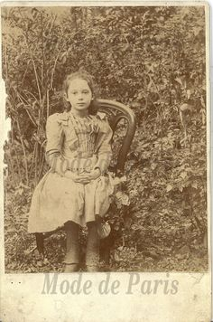 Antique Photo of a young girl in a garden / by ModedeParis on Etsy