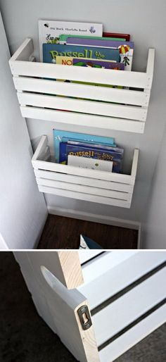 DIY Crate Book Shelves. Cut the wooden crates in half, dress up the look with white paints and mount them to the walls. This can be the stylish book shelves that keep books in your little ones' reach!