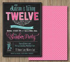 Pyjama Party Birthday Invitation. Sleepover by TracyAnnPrintables