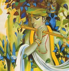 Krishna Hindu, Radha Krishna Photo, Hindu Deities, Klimt, Little Krishna, Modern Indian Art, Shiva Art, Krishna Painting, Krishna Images