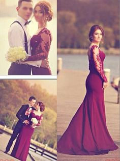 2016 long prom dresses, mermaid burgundy prom dresses, lace see through long sleeves prom dresses, sheer ball gown
