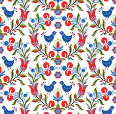 Folk Art Bird Fabric  Birds And Flowers By Svetlana