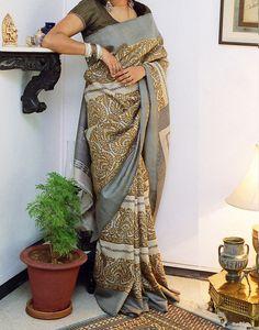 sarees, Arundhati Menon Dramatic Block Prints