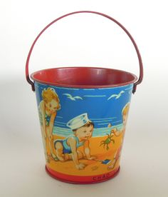 Vintage Chad Valley Child's Beach Pail England Mint Condition (145.00 USD) by AVintageFix