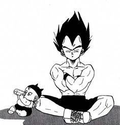 Vegeta and By Trunks -scan from piece of Dragon Ball doujinshi [パパ] by Yoshi Otomo , 30 pages Japan) Son Goku, Dragon Ball Z, Vegeta Y Trunks, Baby Trunks, Dragonball Super, Manga Dragon, Awesome Anime, Doujinshi, Manga Anime