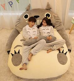 My Neighbor Totoro Plush Bedding - Size L 6 Ft 10 in. * W 5 Ft 9 in. - Sleeping Bag - Sofa Bed - Double Bed - Bean Bag - Tatami Mattress for Kids and Children Bean Bag Bed, Bean Bag Chair, Bear Sleeping Bags, Kids Bedroom, Bedroom Decor, Giant Stuffed Animals, My Neighbor Totoro, Double Beds, Sofa Bed